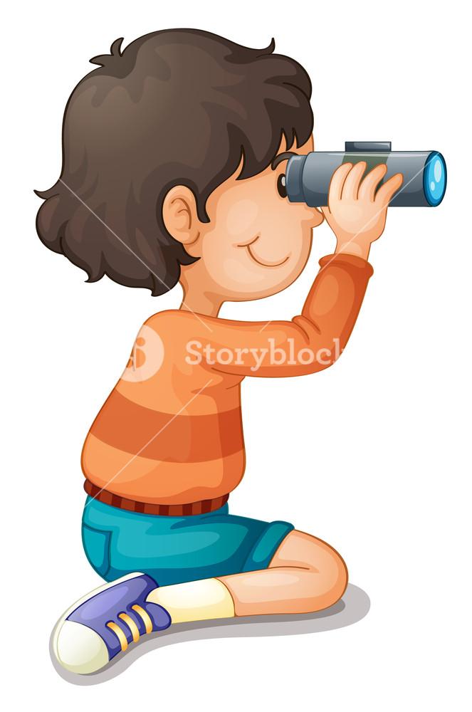 Binocular clipart kid with binoculars. Illustration of a boy