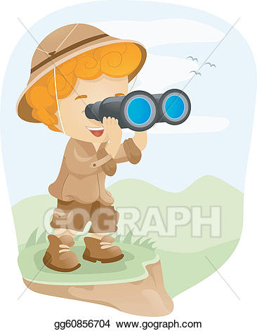Binocular clipart kid with binoculars. Vector art eps gg
