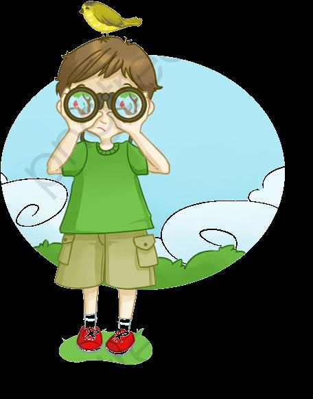 Cartoon ni o binoculares. Binocular clipart kid with binoculars