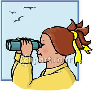 Girl looking through royalty. Binocular clipart kid with binoculars