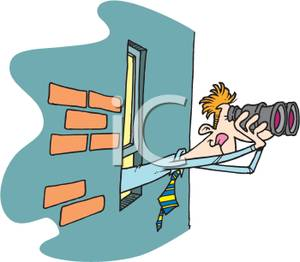 A man leaning out. Binocular clipart lookout