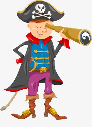 Cartoon pirate captain watching. Binocular clipart non fiction