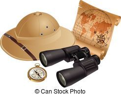 Clipart map explorer. Safari hat binoculars compass
