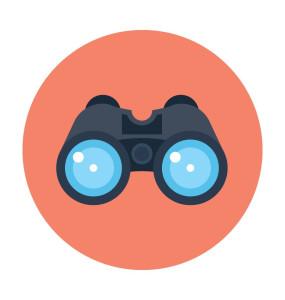 Horizon scanning and analysis. Binoculars clipart scrutiny