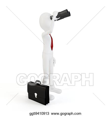 Stock illustration d man. Binoculars clipart scrutiny