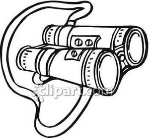 With neck strap royalty. Binoculars clipart black and white
