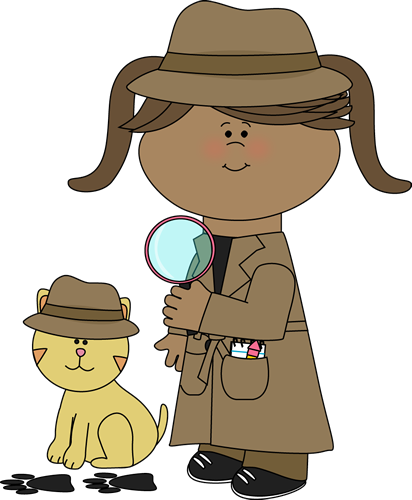 Clip art images girl. Detective clipart desk