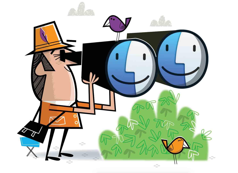 Binoculars clipart lens. Bird watchter with giant