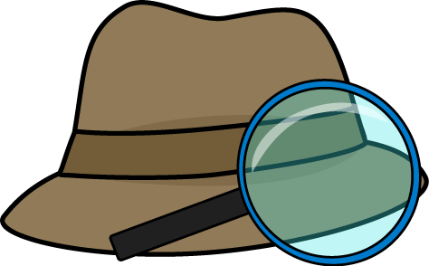 And magnifying glass clip. Detective clipart detective hat