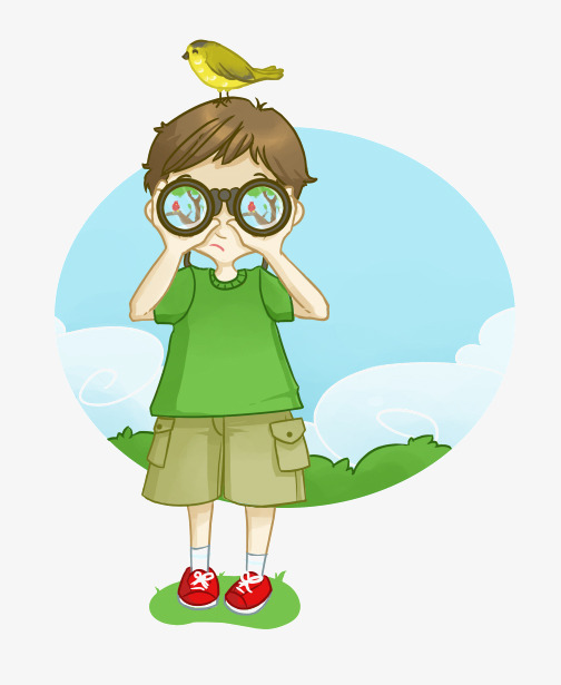 Binocular clipart non fiction. Cartoon boy binoculars characters