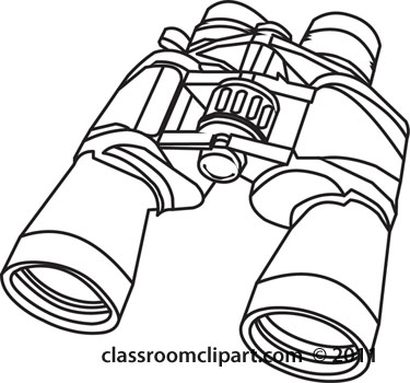 Objects binoculars outline classroom. Binocular clipart black and white