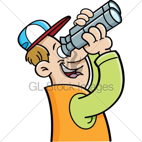 Binoculars clipart person. Cartoon man looking through