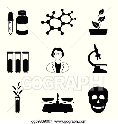 Vector illustration science chemistry. Biology clipart black and white