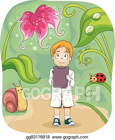 Biology clipart kid. Vector boy study notes