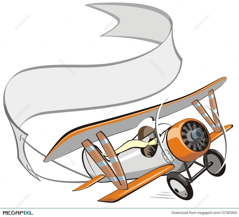 Biplane clipart. Vector cartoon with banner