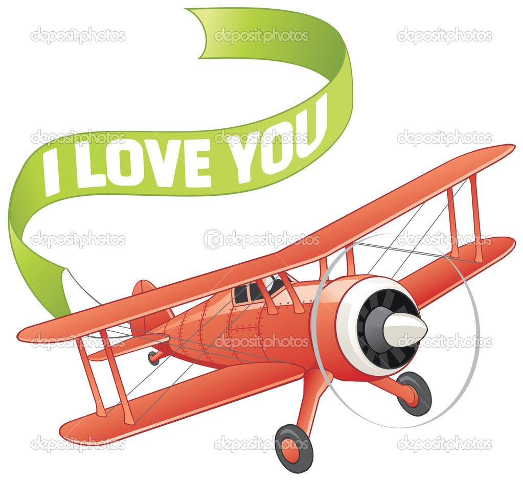 Cartoon airplane with banner. Biplane clipart animated