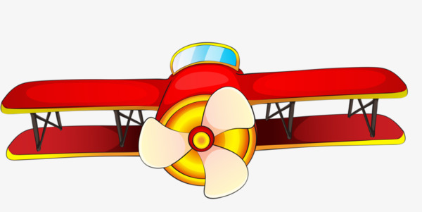 Cartoon red small plane. Biplane clipart animated