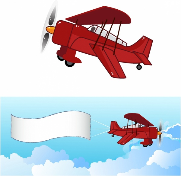 With free vector in. Biplane clipart banner