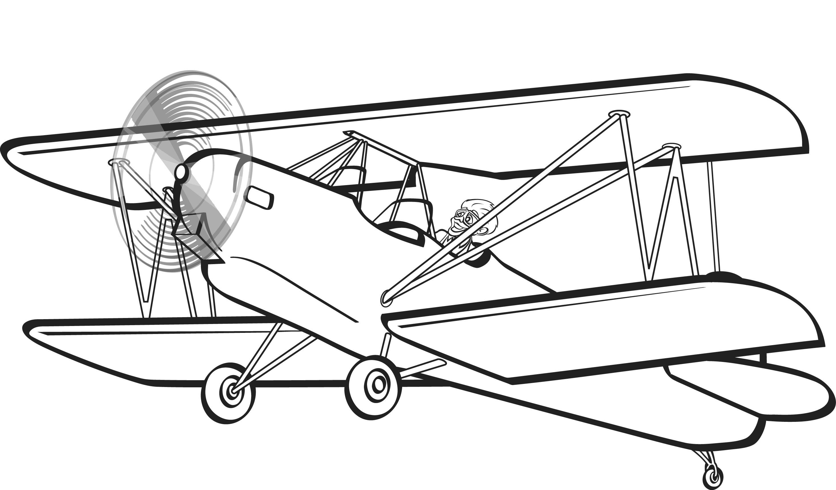 Clip art . Biplane clipart black and white