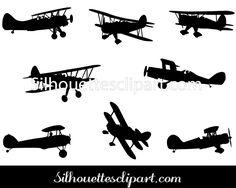 Biplane clipart black and white.  vector silhouettes of