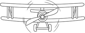 Free image airplane coming. Biplane clipart black and white