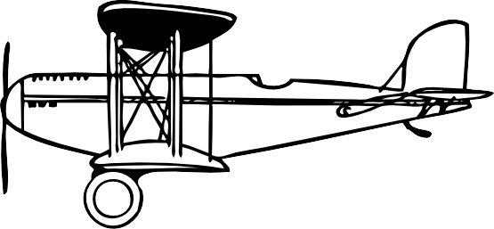 Biplane clipart black and white. Free vector download for