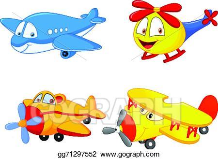 Biplane clipart cartoon. Eps illustration plane vector