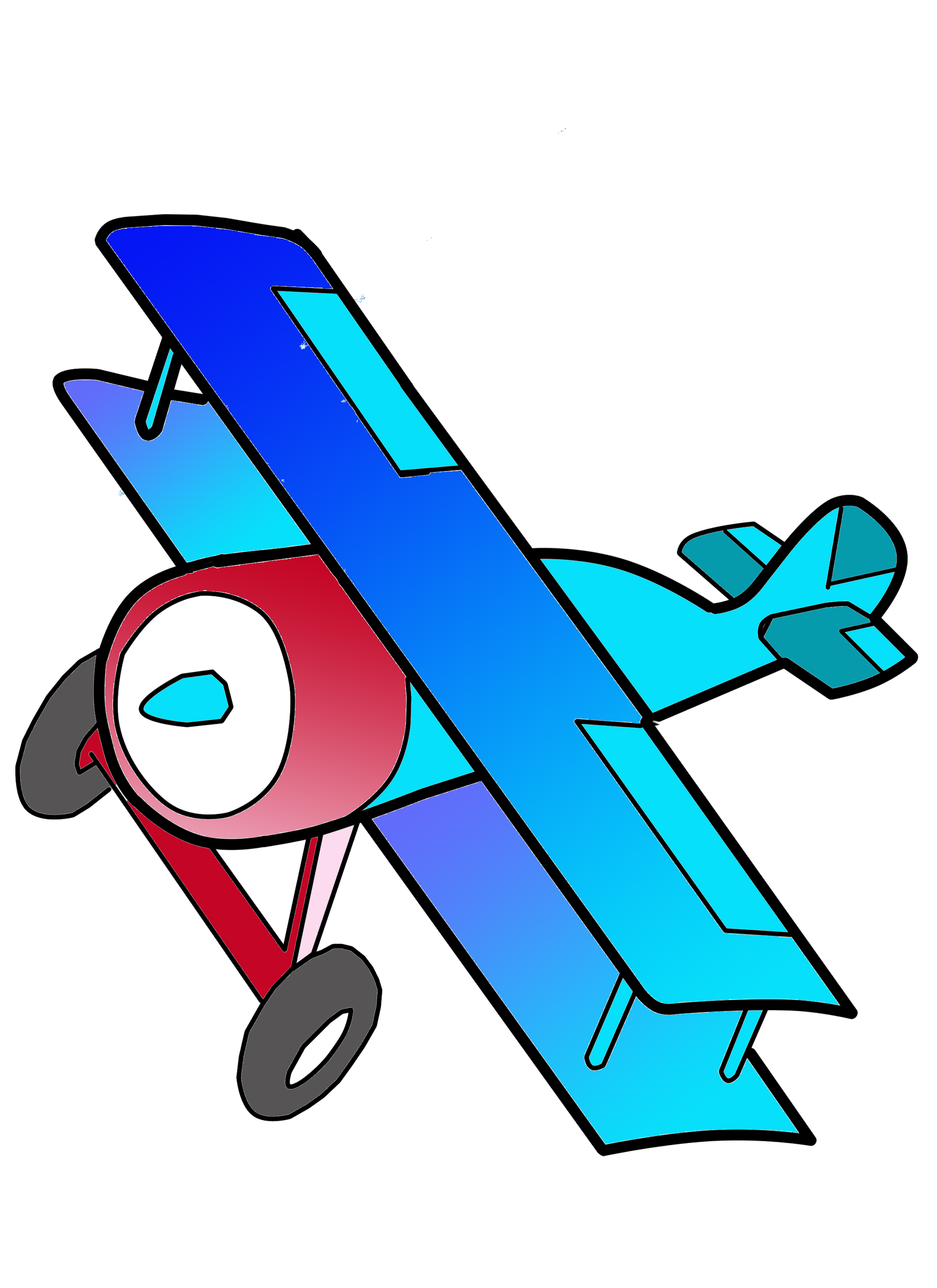 Blue pencil and in. Biplane clipart cartoon