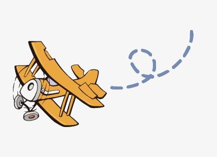 Small aircraft airplane flight. Biplane clipart cartoon