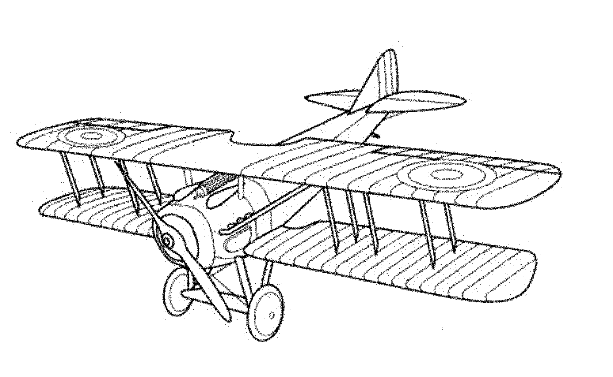 Biplane clipart coloring page. Vintage airplane pages printable