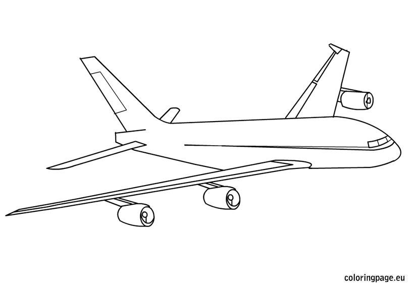 Biplane clipart coloring page. Airplane flying in sky