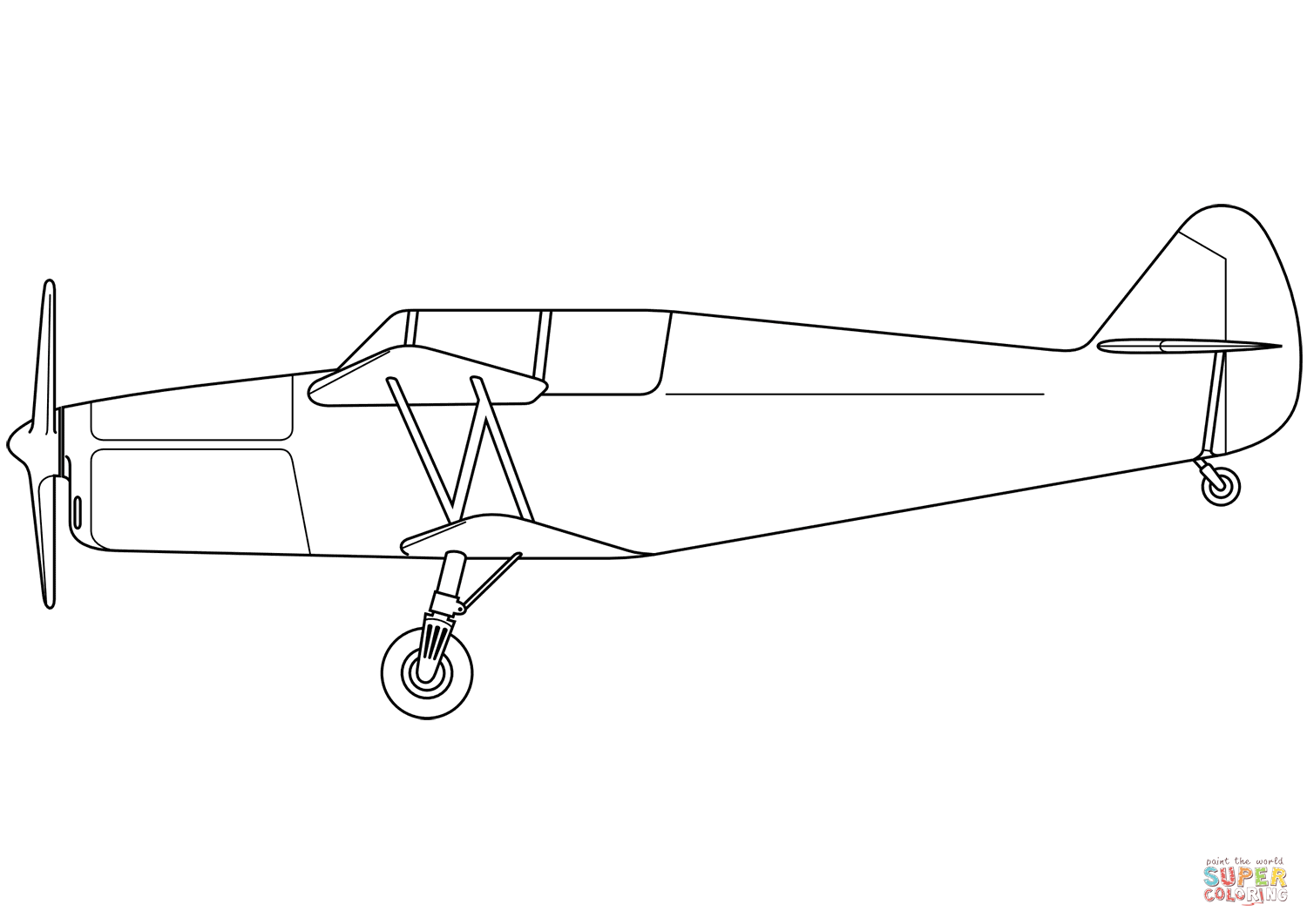 Biplane clipart coloring page. Free printable pages click