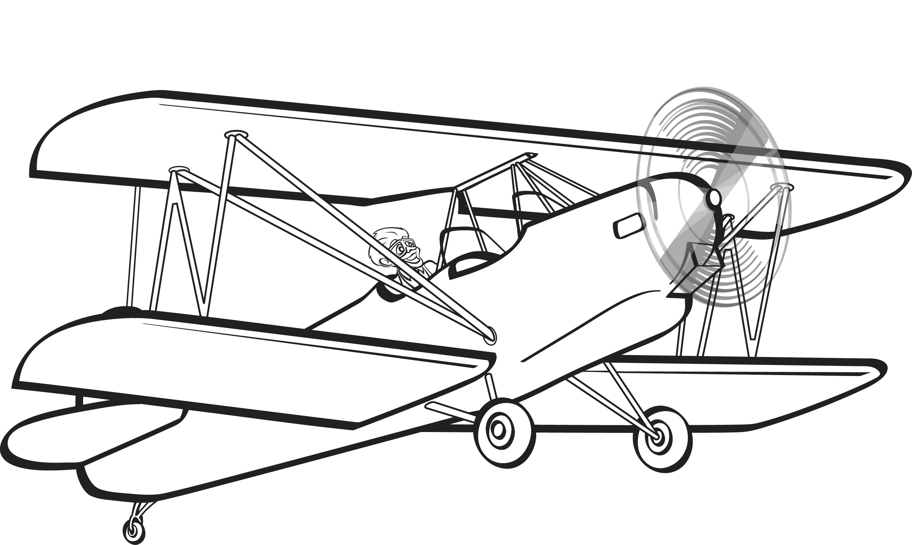 Biplane clipart coloring page. Image of clip art