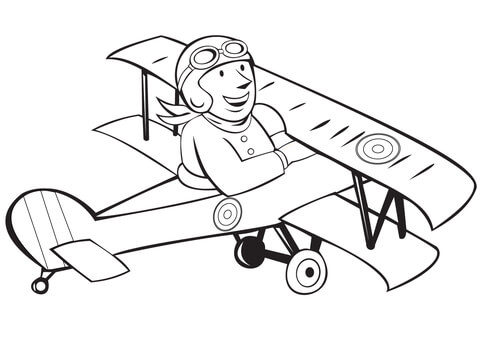 Biplane clipart coloring page. Ww french pilot on
