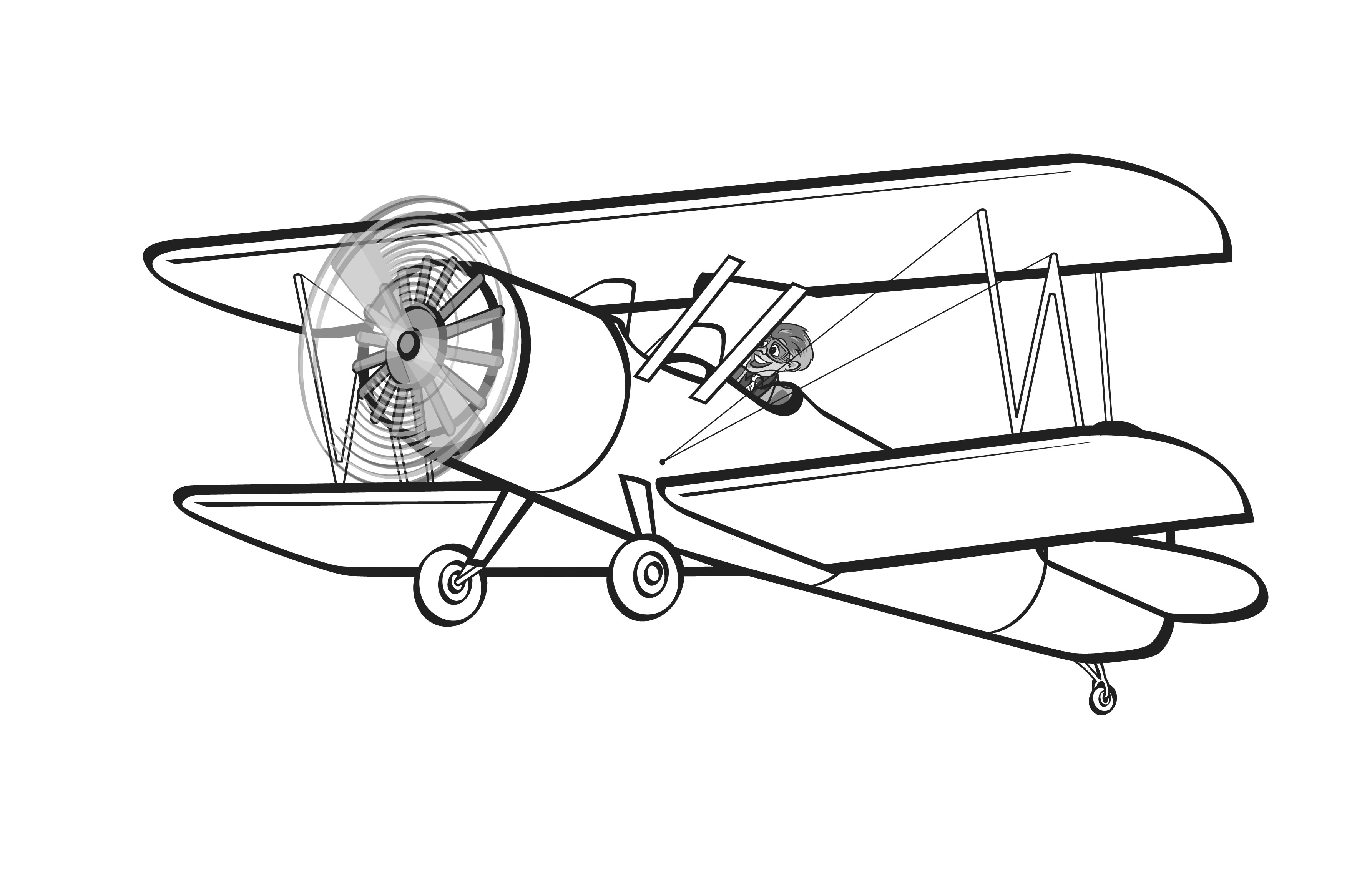 collection of silhouette. Biplane clipart coloring page
