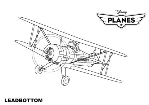 Disney planes leadbottom free. Biplane clipart coloring page