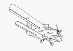 Biplane clipart coloring page. Free pages airplane sheets