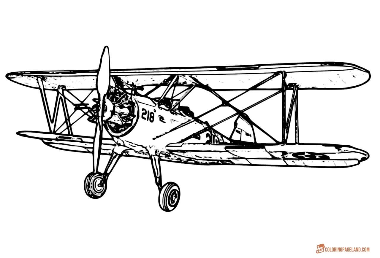 Airplane pages free printable. Biplane clipart coloring page