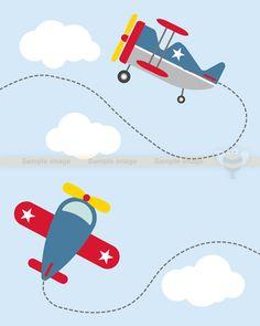 Patriotic planes digital airplane. Biplane clipart cute