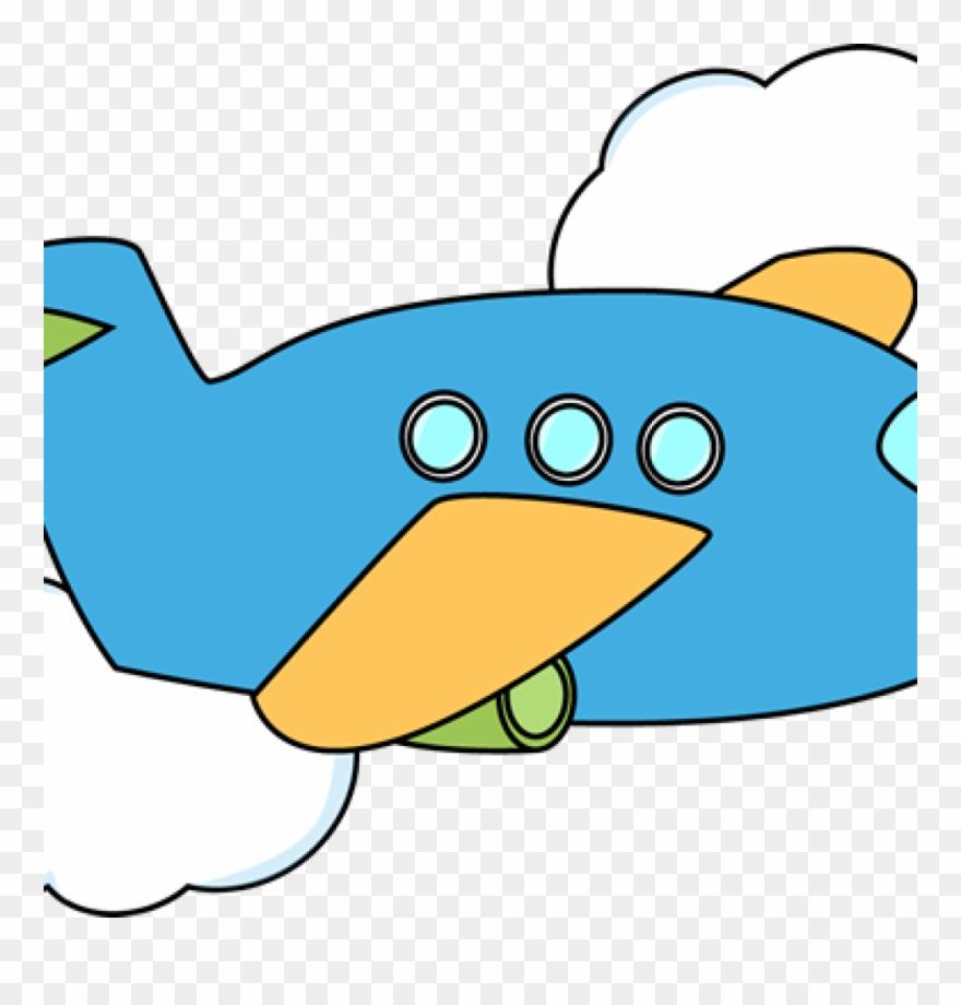 Airplane flying through . Biplane clipart cute