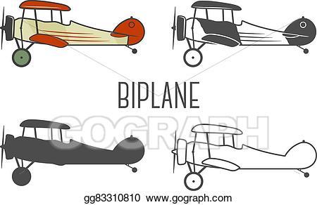 Biplane clipart drawing. Vector art set of