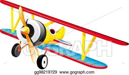 Biplane clipart drawing. Vector art bright retro