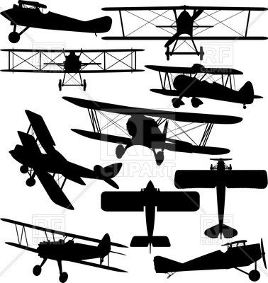 Silhouettes of old aeroplane. Biplane clipart drawing
