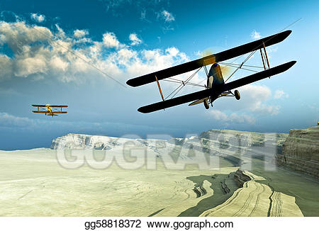 Vintage double wing biplanes. Biplane clipart drawing