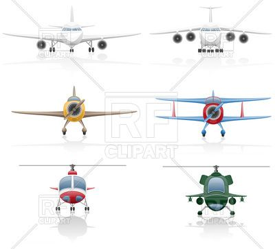 Aviation icons airplanes and. Biplane clipart front