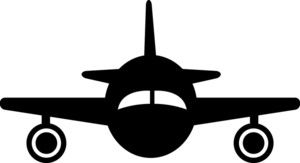 Plane silhouette image clip. Biplane clipart front