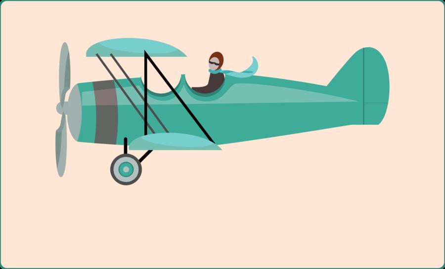 Travel airplane wing . Biplane clipart illustration