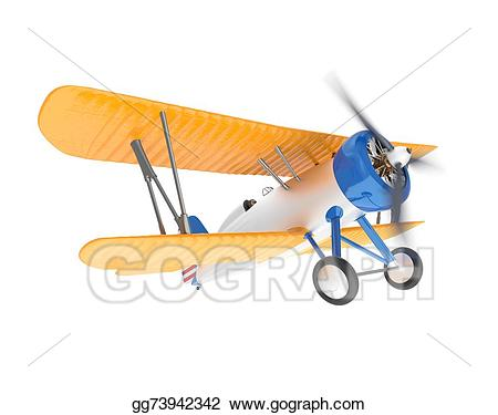 Stock yellow and silver. Biplane clipart illustration