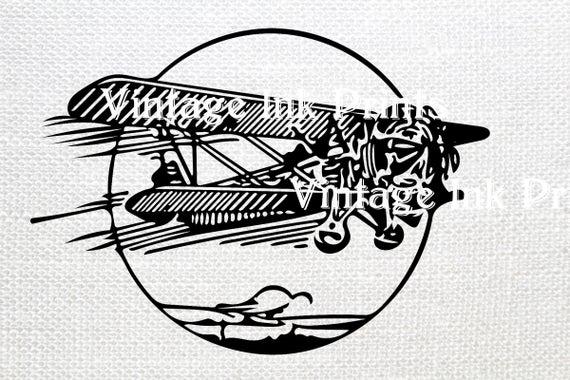Biplane clipart illustration. Svg black clip art