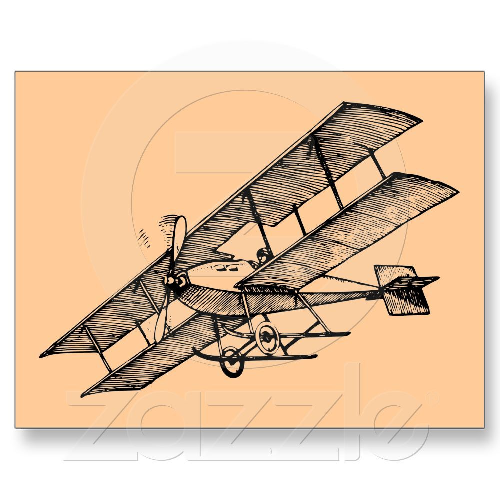 Biplane clipart line. Aircraft s vintage airplane